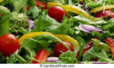 Dressing Poured On Fresh Salad - Dressing sauce pours over...