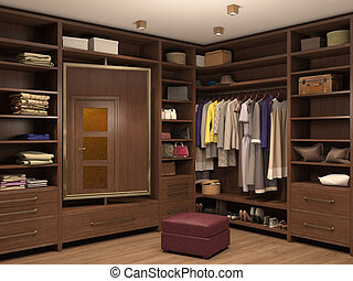 dressing room, interior of a modern house. 3d illustration