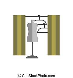 dressing room Studio on white background flat vector icon