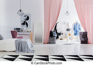 Dressing room with pink curtains