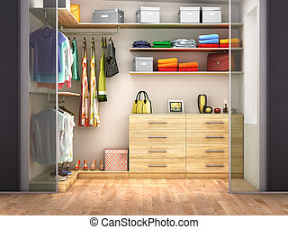 Dressing room with transparent doors. 3d illustration