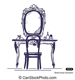 Dressing table and mirror. Hand drawn vector illustration