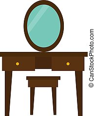 Dressing table, illustration, vector on white background.