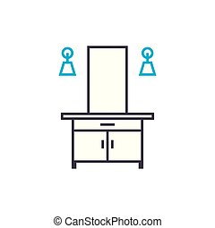Dressing table linear icon concept. Dressing table line...