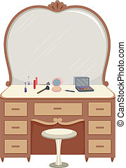 Dressing Table Make Up - Illustration of a Dressing Table...