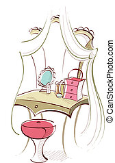 Dressing Table - This illustration is a common cityscape.