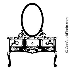 Dressing table with mirror in Vintage style. Vector sketch