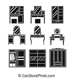 Dressing table,wardrobe,furniture vector set