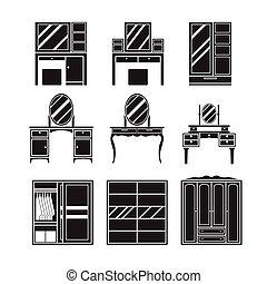 Dressing table,wardrobe,furniture vector set