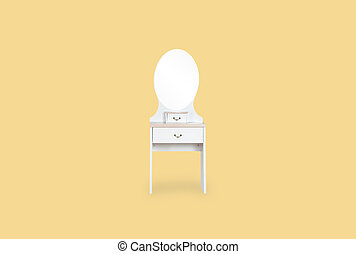 Dressing white Table isolated on yellow background with space for copy.