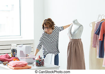 Dressmaker Small Sized Enterprises Fashion Designer And Tailor Concept Working Process Designer Decorates The Outfit On