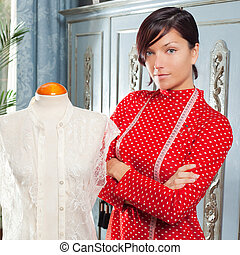 Dressmaker with mannequin working at home - Dressmaker with ...