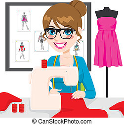 Beautiful young fashion designer dressmaker woman using sewing machine to sew a red suit on her atelier