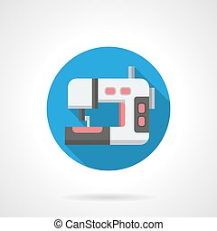 Dressmaking machine round flat vector icon