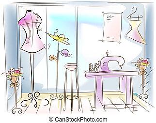 Dressmaking / Sewing Room Illustration