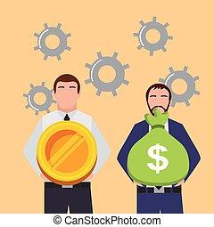 drev, guld, pengar väska, affärsmän, bakgrund, räcker, mynt, holdingen