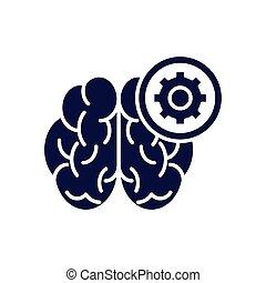 drev, mänsklig, ikon, silhuett, hjärna, stil