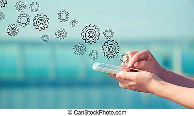 drev, smartphone, begrepp
