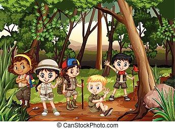 drewna, dzieci, kemping na zewnątrz