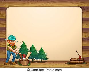 drewna, okazały, szablon, przód, opróżniać, człowiek