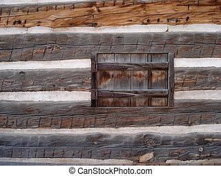 drewniana ściana, okno