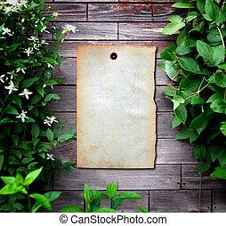 drewniana ściana, papier, stary