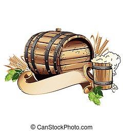 drewniana baryłka, piwo, nieruchome życie