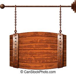 drewniana baryłka, szyld, mający kształt