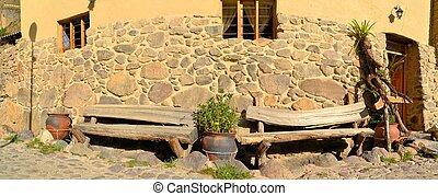 drewniany, ławy, na, inca, styl, dom, ollantaytambo, peru