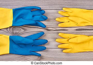 drewniany, ścierka rękawiczki, barwny, tło.