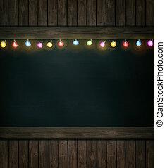 drewniany, światła, boże narodzenie, tablica