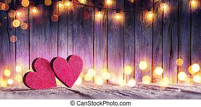 drewniany, światła, para, stół, serca