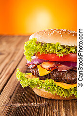 drewniany, świeży, hamburger, deski