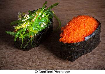 drewniany, świeży, sushi, tło