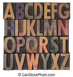 drewniany, alfabet, typ, letterpress, rocznik wina