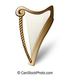 drewniany, biały, harfa