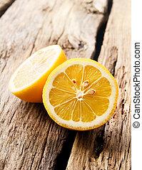 drewniany, board., lemon.