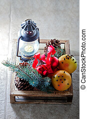 drewniany boks, grapefruits, boże narodzenie