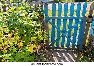 drewniany, brama, w, ogród