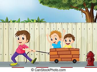drewniany, chłopcy, trzy, ściana, interpretacja