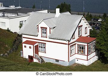 drewniany, cielna, lakefront, dom