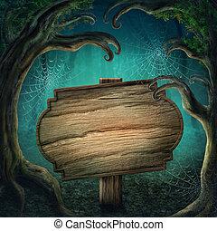 drewniany, ciemny, las, znak