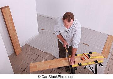 drewniany, człowiek kładący, podłoga