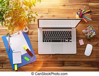 drewniany, desk., miejsce pracy, biuro