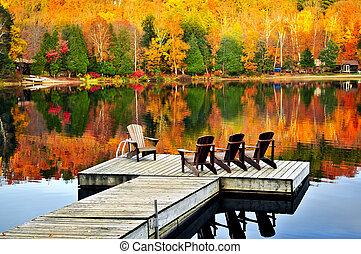drewniany, dok, na, jesień, jezioro