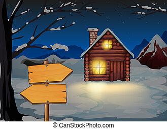 drewniany dom, deska, strzała