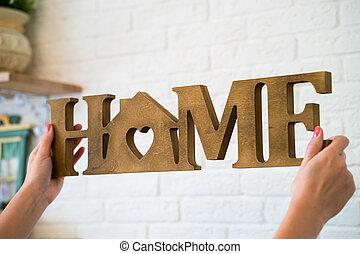 drewniany, dom majstrował, słowo, litera