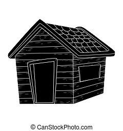 drewniany dom, sylwetka, wektor, projektować, odizolowany, na białym