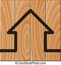 drewniany dom, symbol, wektor