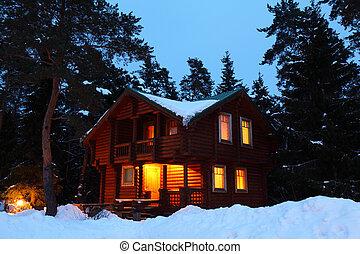 drewniany dom, w, zima, drewno, w, zmierzch